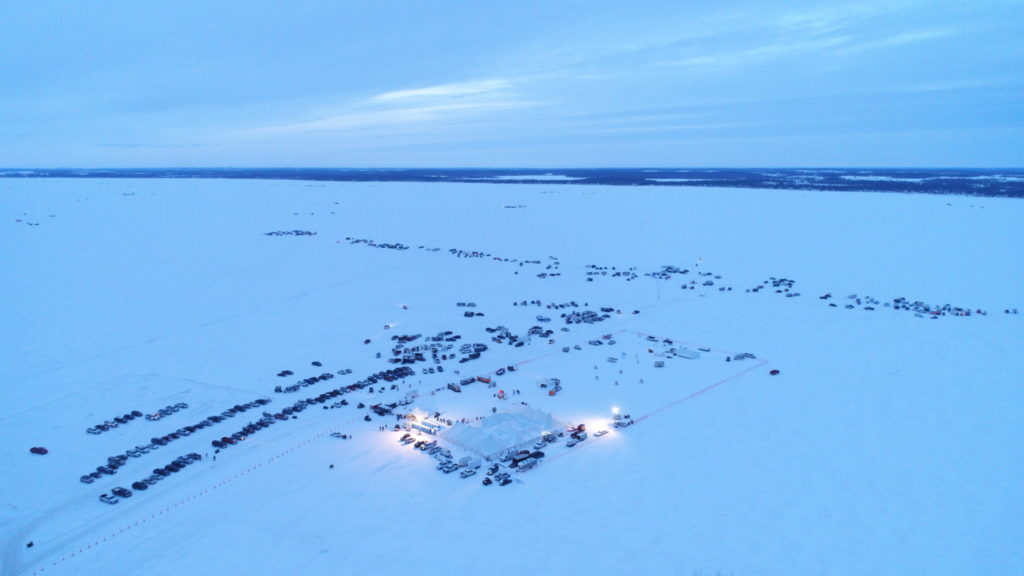 Overhead photo of ice fishing